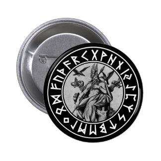 escudo de Odin del bolsillo en el negro Pin Redondo De 2 Pulgadas