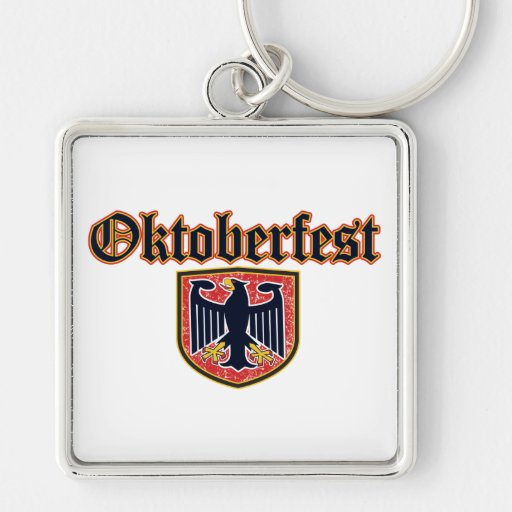 Escudo de Oktoberfest Llavero Cuadrado Plateado