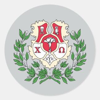 Escudo de Omega de la ji Pegatina Redonda