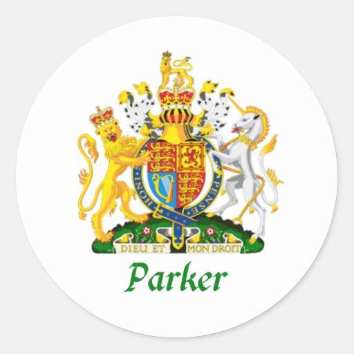 Escudo de Parker de Gran Bretaña Pegatina Redonda