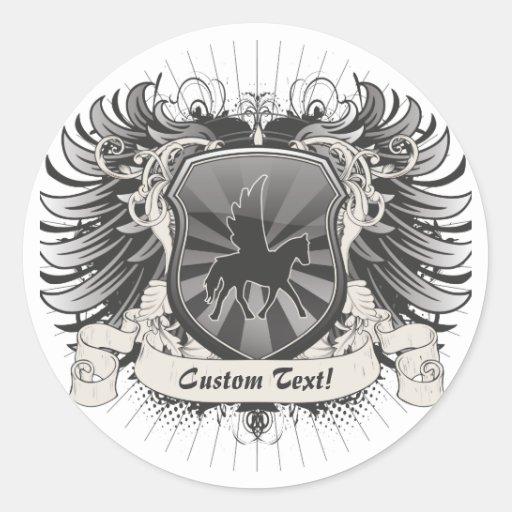 Escudo de Pegaso Pegatina Redonda