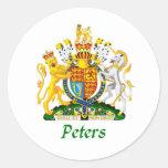 Escudo de Peters de Gran Bretaña Pegatina Redonda