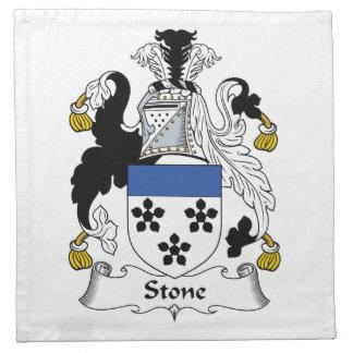 Escudo de piedra de la familia servilletas imprimidas