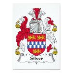 Escudo de plata de la familia invitación 12,7 x 17,8 cm