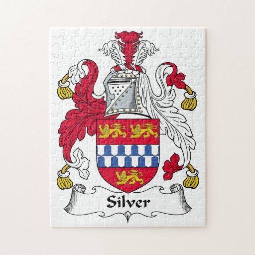 Escudo de plata de la familia puzzles con fotos