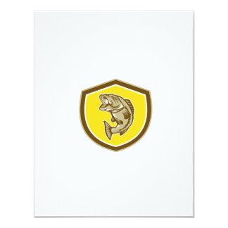 Escudo de salto de la perca americana retro invitación 10,8 x 13,9 cm