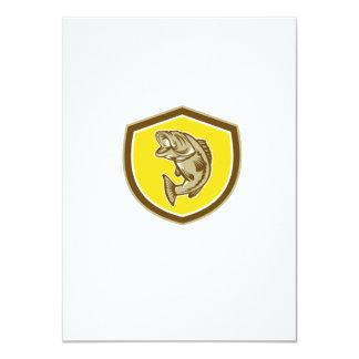 Escudo de salto de la perca americana retro invitación 11,4 x 15,8 cm
