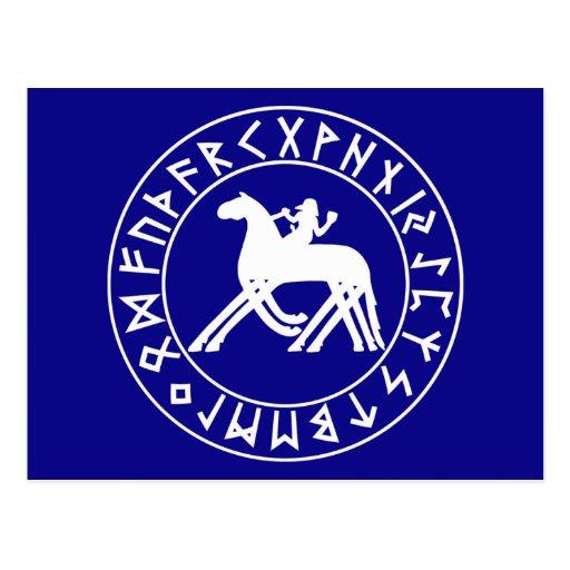 escudo de Sleipnir de la postal en el negro