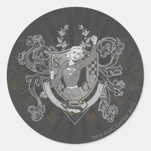 Escudo de Supergirl Etiquetas Redondas