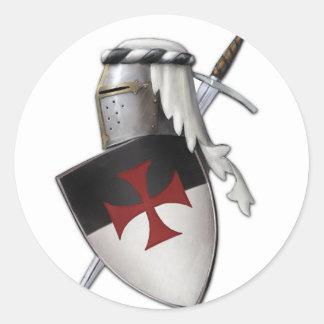 Escudo de Templar de los caballeros Pegatina Redonda