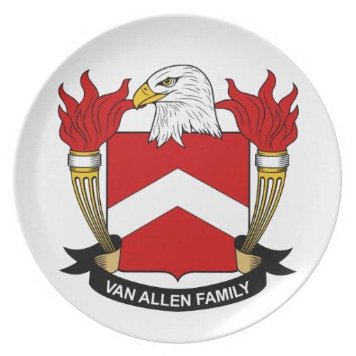 Escudo de Van Allen Family Plato De Comida