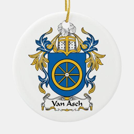 Escudo de Van Asch Family Adorno Redondo De Cerámica