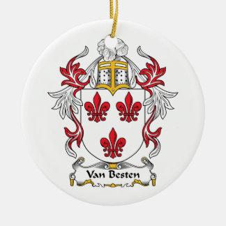 Escudo de Van Besten Family Adorno Navideño Redondo De Cerámica