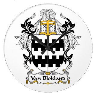 Escudo de Van Blokland Family Relojes De Pared