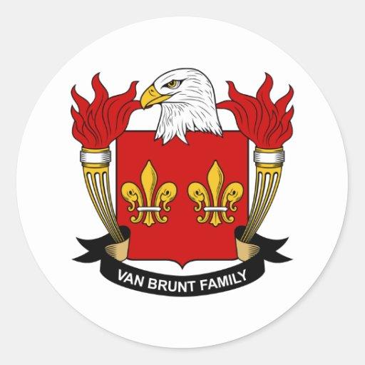 Escudo de Van Brunt Family Pegatina Redonda