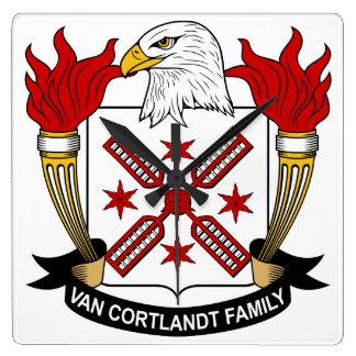 Escudo de Van Cortlandt Family Reloj Cuadrado