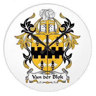Escudo de Van der Blok Family Relojes De Pared