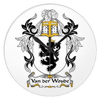 Escudo de Van der Woude Family Relojes De Pared