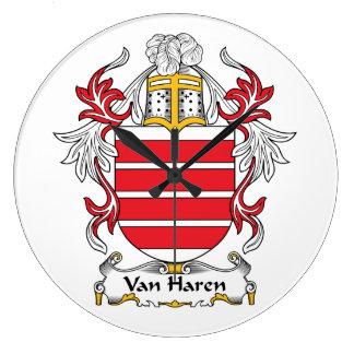 Escudo de Van Haren Family Relojes De Pared