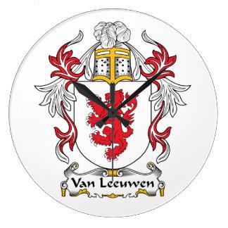 Escudo de Van Leeuwen Family Relojes De Pared