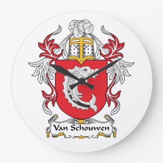 Escudo de Van Schouwen Family Reloj De Pared
