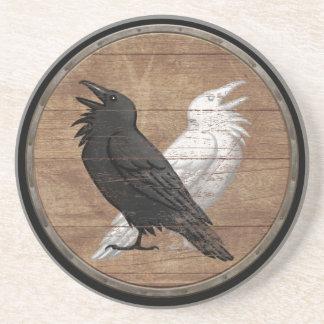 Escudo de Viking - los cuervos de Odin Posavasos De Arenisca