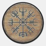 Escudo de Viking - Vegvísir Etiqueta Redonda