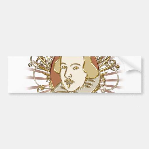 Escudo de William Shakespeare (oro) Pegatina De Parachoque