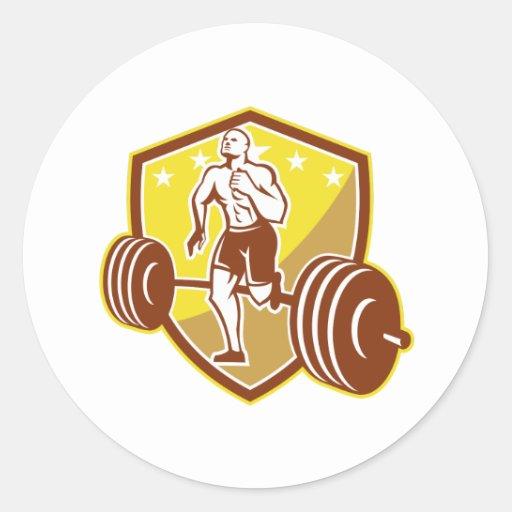 Escudo del Barbell del corredor del atleta retro Pegatinas