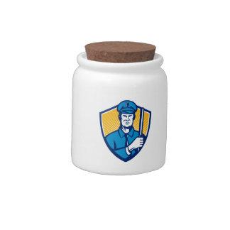 Escudo del bastón del oficial de policía del polic jarra para caramelo