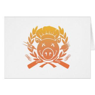 Escudo del Bbq - la puesta del sol se descolora Tarjeta De Felicitación