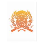 Escudo del Bbq - la puesta del sol se descolora Tarjetas Postales