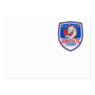 Escudo del boxeador de la mascota del burro de tarjetas de visita grandes
