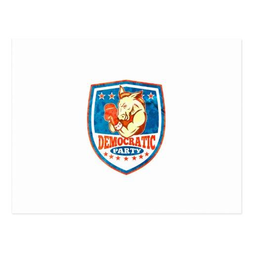 Escudo del boxeador de la mascota del burro de tarjetas postales