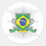Escudo del Brasil Pegatina Redonda