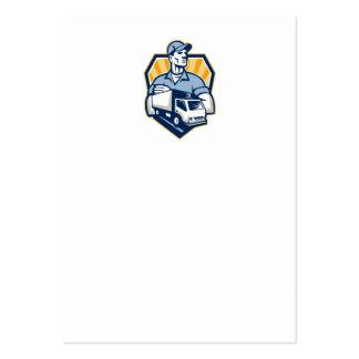 Escudo del camión de reparto del hombre del retiro tarjetas de visita grandes
