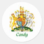 Escudo del caramelo de Gran Bretaña Etiquetas Redondas