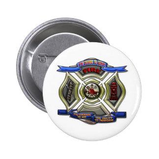 Escudo del cuerpo de bomberos pin redondo de 2 pulgadas