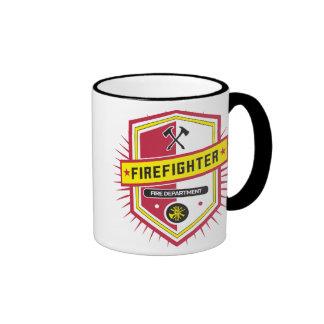 Escudo del cuerpo de bomberos taza de dos colores