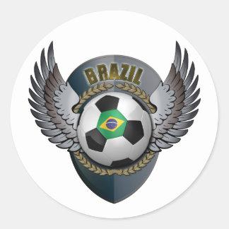 Escudo del fútbol del Brasil Etiqueta Redonda
