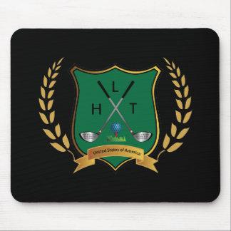 Escudo del GOLF con la guirnalda y el monograma Tapete De Raton