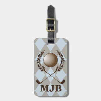 Escudo del golf de Argyle del monograma Etiqueta De Maleta
