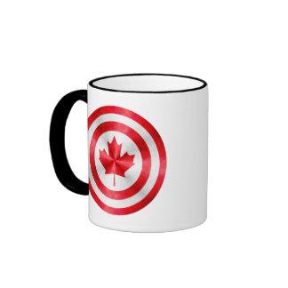 Escudo del héroe de capitán Canadá Taza