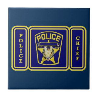 Escudo del jefe de policía azulejo cuadrado pequeño