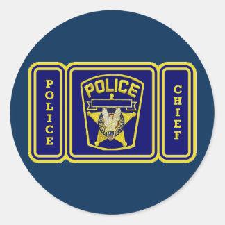 Escudo del jefe de policía pegatina redonda