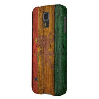 escudo del león del reggae en la textura de madera funda galaxy s5