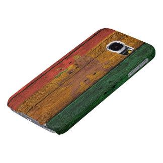 escudo del león del reggae en la textura de madera funda samsung galaxy s6
