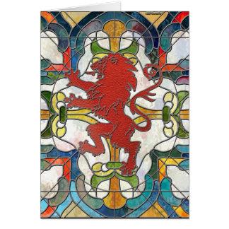 Escudo del león del vitral tarjeta pequeña