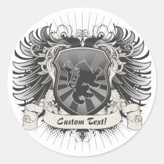 Escudo del león etiqueta redonda