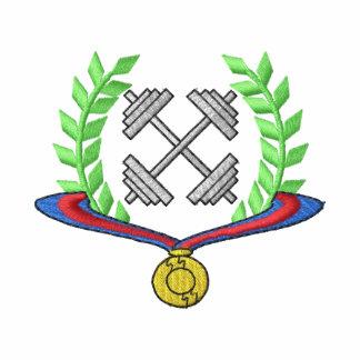 Escudo del levantamiento de pesas polo bordado